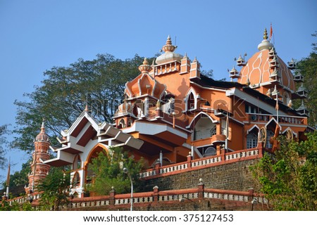 GOA, INDIA - FEBRUARY 5 2016: Maruti Temple is a Hindu temple dedicated to the monkey god Hanuman and it stands on the Altinho hillside.