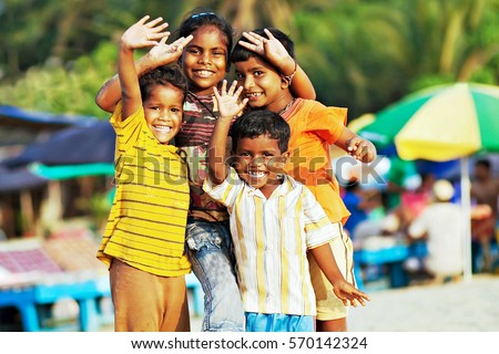 GOA  INDIA   JANUARY     Poor indian children celebrating Thai Pongal Holiday  January Shutterstock