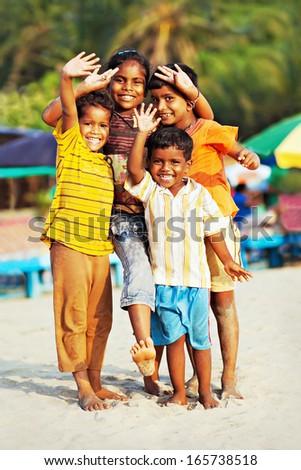 GOA, INDIA - JANUARY 14: Unidentified indian children on January, 14, 2013 in Goa, India. - stock photo