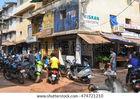 GOA,INDIA - MARCH 11,2014 Shops on the main street of Calangute