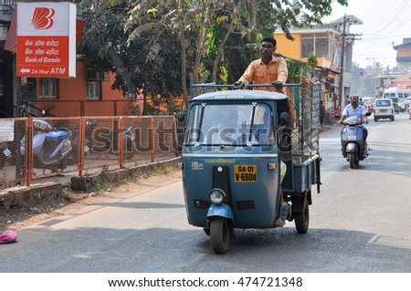 GOA,INDIA - MARCH 11,2014:Three wheeled car on the roads in Calangute