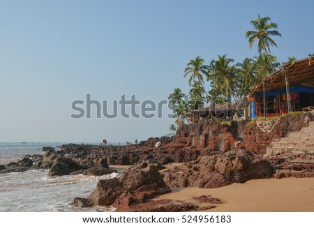 GOA,INDIA - NOVEMBER 9, 2016 : a Market on the beach Anjuna