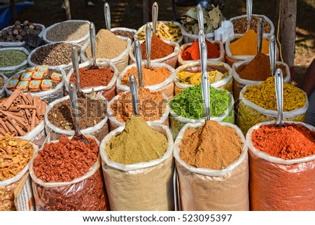 GOA,INDIA - NOVEMBER 9, 2016 : Indian spices at the market in Anjuna