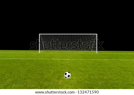 Goal and the field isolated on black with the ball on penalty point - stock photo