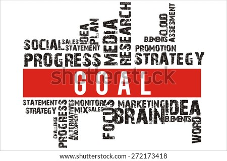 goal in word collage with red background color