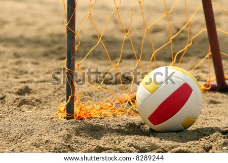 Goal on the beach with a volleyball - stock photo