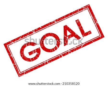 Goal red square grungy stamp isolated on white background