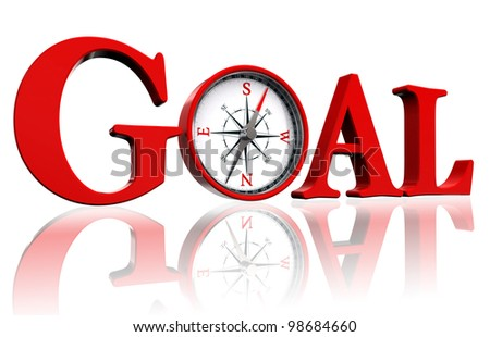 goal red word and conceptual compass on white background. clipping path included - stock photo