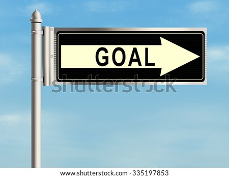 Goal. Road sign on the sky background. Raster illustration.