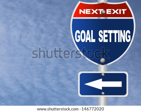 Goal setting road sign - stock photo