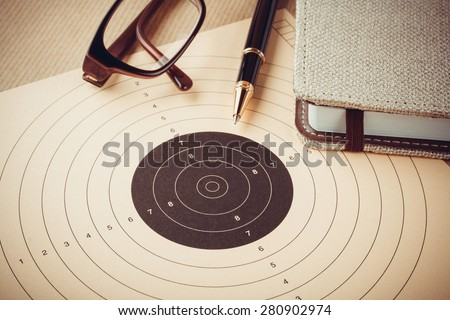 Goal setting with target, objectives and planning concept, top view - stock photo