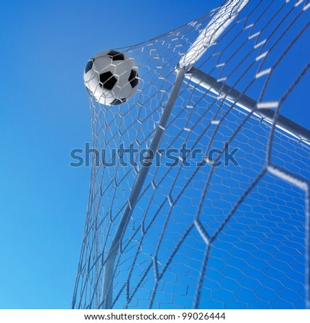 Goal. Soccer ball in net. - stock photo