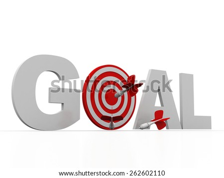 goal word and conceptual target with arrow  - stock photo