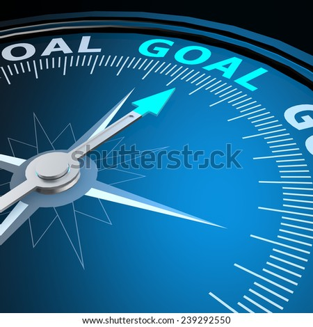 Goal word on compass image with hi-res rendered artwork that could be used for any graphic design. - stock photo