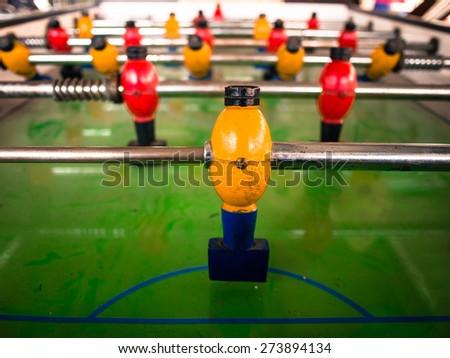 Goalie.Wooden soccer table game. - stock photo