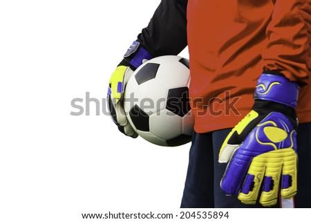 Goalkeeper catches the ball. Onto the scene in Hangzhou white. - stock photo