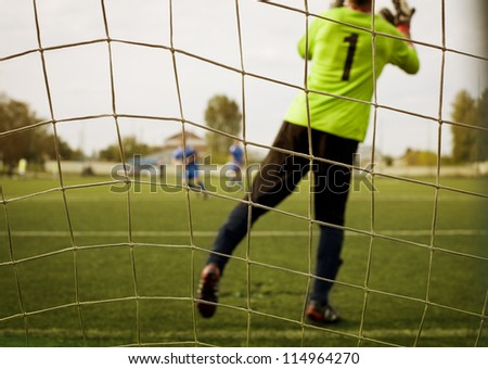goalkeeper stay in the gate on a grass - stock photo