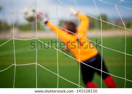 Goalkeeper with selective focus for Sports Backgrounds - stock photo