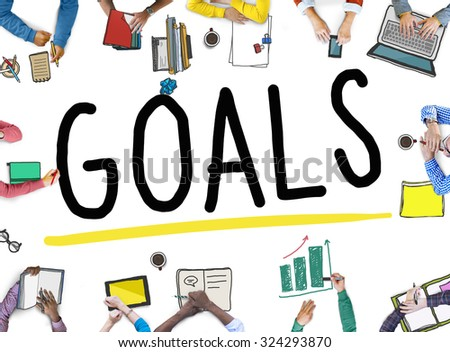 Goals Aim Aspiration Anticipation Target Concept - stock photo