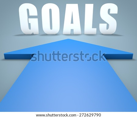 Goals - 3d render concept of blue arrow pointing to text. - stock photo