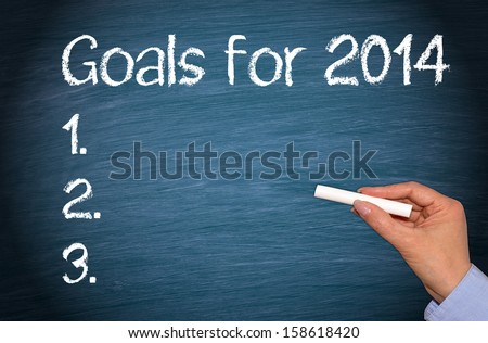 Goals for 2014 - stock photo