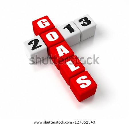 Goals For 2013 crosswords. Part of a business concepts series.