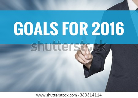 Goals for 2016 word on virtual screen touch by business woman cyan sky tab - stock photo