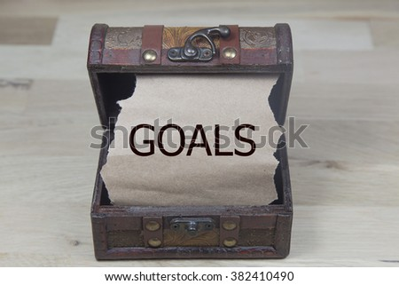 goals is written on the Brown torn paper in the treasure box