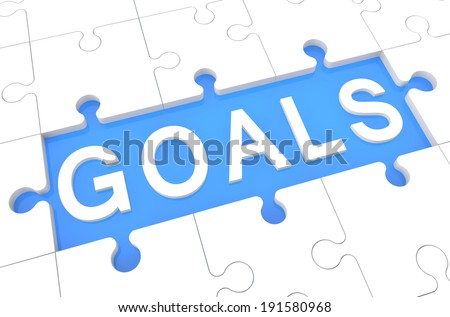 Goals - puzzle 3d render illustration with word on blue background - stock photo