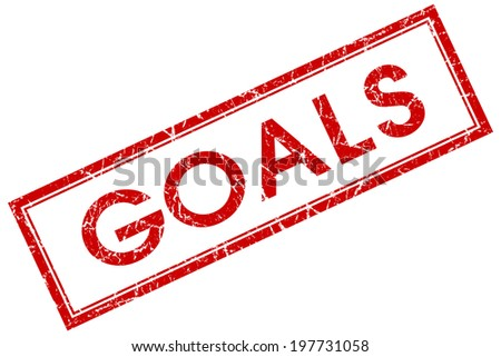 Goals red square grungy stamp isolated on white background