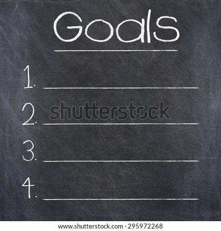 GOALS text written on a blackboard - stock photo