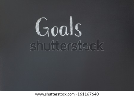 Goals word on the blackboard