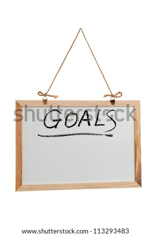 Goals word written on white board