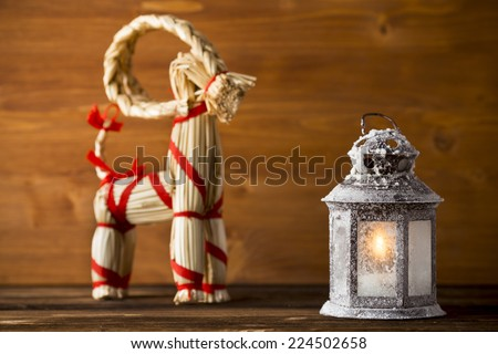 Goat, christmas still life card with Yule goat. - stock photo