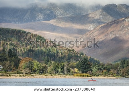 Goat Fell & Arran mountains on the Isle of Arran in Scotland - stock photo