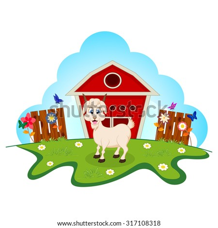 Goat on farm for your design - stock photo