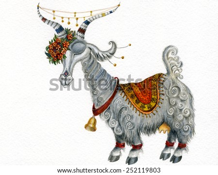 Goat with wreath of flowers hand drawn