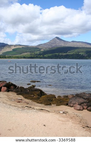 Goatfell from beach on Brodick Bay Isle of Arran Scotland