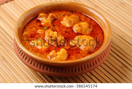 gobi mutter curry, cauliflower mutter curry, gobi masala with green peas indian food, lunch ,dinner - stock photo