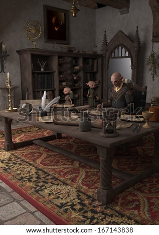 Goblin Alchemist and servants in his study, 3d digitally rendered illustration - stock photo