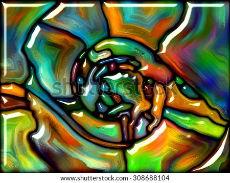 Goblin Glass series. Artistic background made of colorful stained glass pattern for use with projects on imagination, creativity and art - stock photo