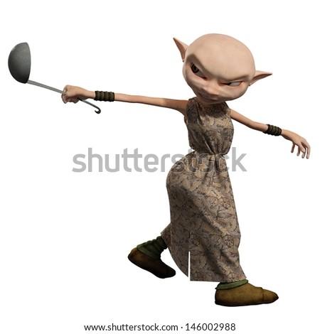 Goblin servant girl carrying a soup ladle, 3d digitally rendered illustration - stock photo