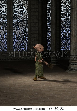 Goblin servant girl with a broom sweeping the great hall, 3d digitally rendered illustration