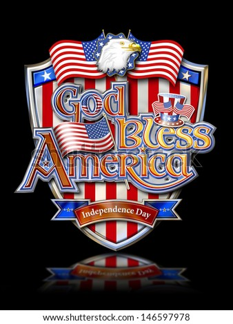 God Bless America on Shield with Bald Eagle, Uncle Sam�s Hat  and Stars and Stripes Chrome graphic on black ground with clipping path