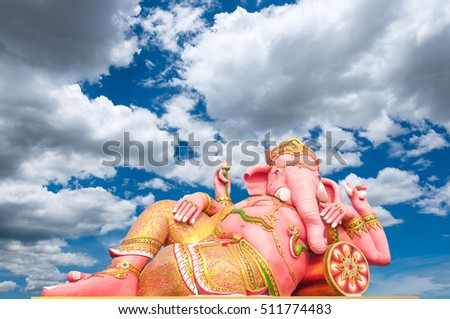 God ganesh pink statue . Is highly respected by the people of Asia.