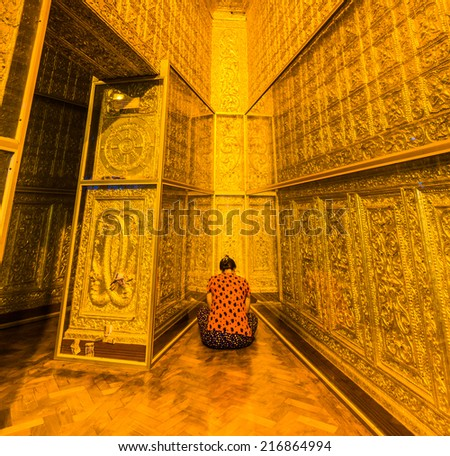 God in Bo Ta Tuang Paya Temple Yangon, Myanmar (Burma) They are public domain or treasure of Buddhism, no restrict in copy or use  - stock photo