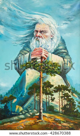 god of forest original oil painting on canvas impressionism, an old white hair god, grand magician ruling the world,  the nature spirit - stock photo