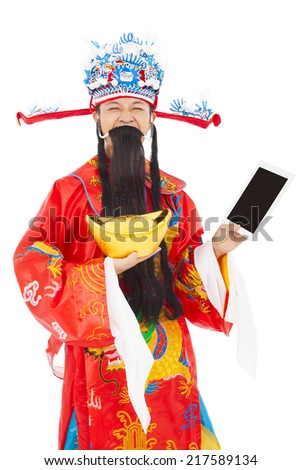 God of wealth holding a tablet and gold ingot over white background - stock photo