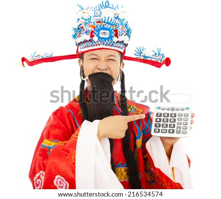 God of wealth pointing a compute machine over white background - stock photo