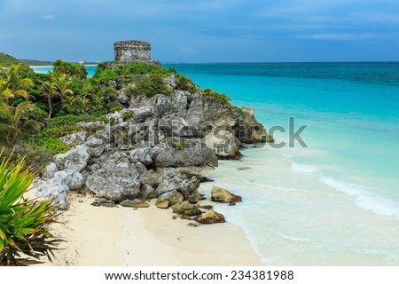 God of Winds Temple, Caribbean sea. Ancient Mayan ruins in Tulum, Mexico - stock photo